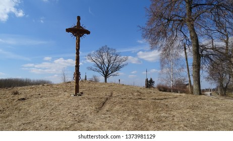 countryside trees and wooden cross memorial  - Shutterstock ID 1373981129