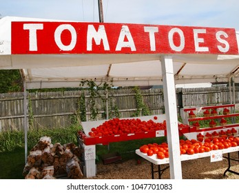 A countryside vegetable stand sells tomatoes fresh from a nearby farm on bright summer day in rural America.