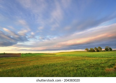 Countryside view of the meadows and cultivated fields