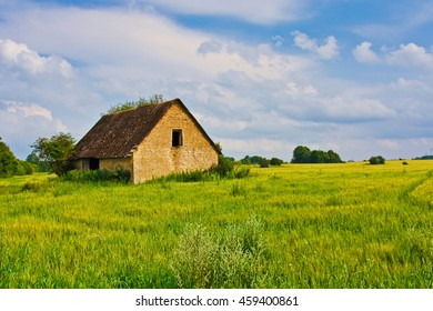 Countryside wide view of old ruined house with trees behind. Rural summer landscape. European pastoral field, meadow, pasture. Illustration of agriculture.