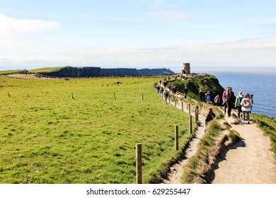 County Clare, Ireland - April 17, 2017: Cliffs of Moher Tourist Attraction in Ireland, County Clare.
