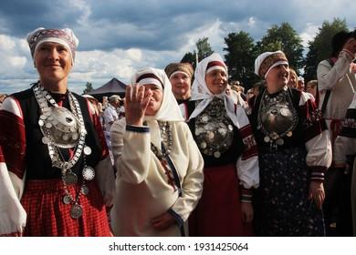 "Lüübnitsa, Põlva County,  Estonia - 08.04.2018: people dressed in folk setu Estonian costume at traditional holiday ""Election of the vicar of Setu king"""