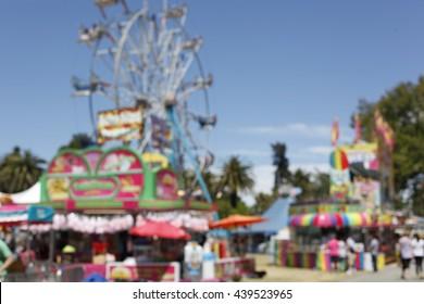County Fair - Kids Amusement Park Blurry Background