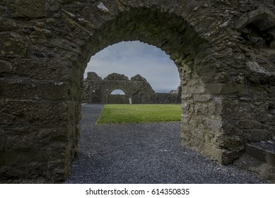 COUNTY GALWAY, IRELAND - APRIL 02, 2017: Well preserved medieval Franciscan abbey in Claregalway.