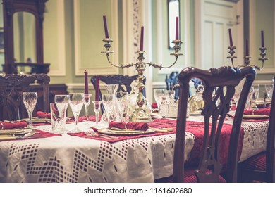County Galway, Ireland, August 21, 2018: Interior dinning room at Kylemore Abbey
