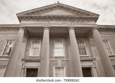 County Hall; Caernarfon; Wales; UK in Black and White Sepia Tone
