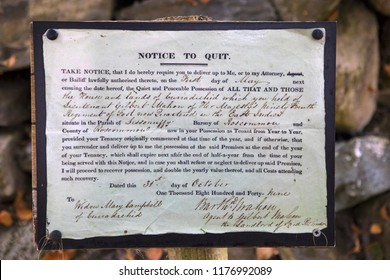 County Kerry, Ireland - August 17th 2018: Eviction Notice at ruins of a cottage desserted during the Irish famine. Families were evicted from their homes during the famine unable to pay their rent.