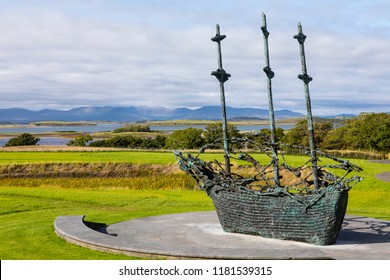 County Mayo, Ireland - August 20th 2018: A view of the National Famine Monument near Westport in the Republic of Ireland.