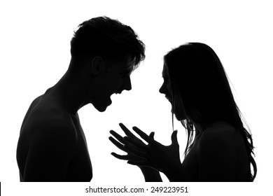 Couple arguing and shouting on each other