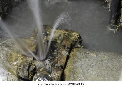 Couple of asbestos cement water pipe broken, 300 mm diameter class 25, over 20 years