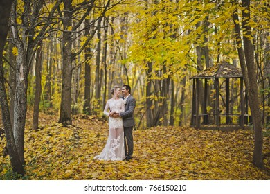 The couple in the autumn forest.