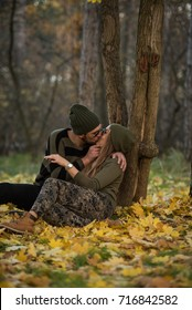 couple in the autumn forest on a walk, autumn