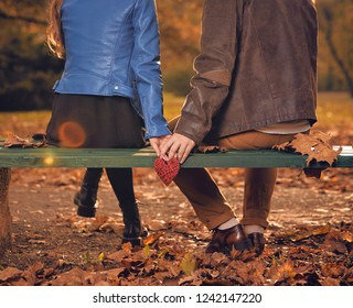 Couple in autumn season colored park enjoying outdoors.