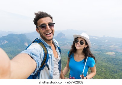 Couple With Backpacks Take Selfie Photo Over Mountain Landscape Trekking, Young Man And Woman On Hike Tourists Adventure Activity