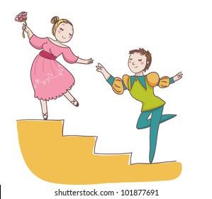 couple of ballet dancer. Cartoon illustration