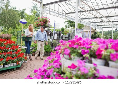 Couple with basket walking through garden center looking at flowers and holding hands