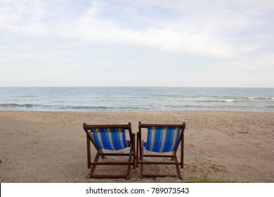 Couple Beach chairs on the beach in evening, Ban Krut,Thailand