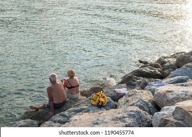 couple at the beach in total relaxation