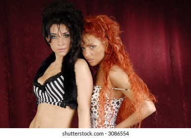 Couple of beautiful girls with red and black hair