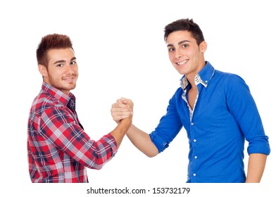 Couple of best friends shaking hands isolated on a white background
