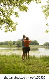 Couple birdwatching