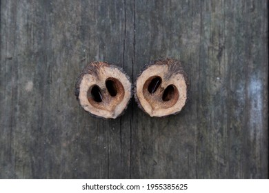 A couple of black walnut shells on wooden background