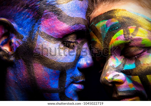 Couple Body Art Face Art Painted Stock Photo Edit Now 1045022719