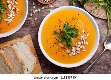 Couple of bowls of homemade pumpkin soup