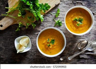 Couple of bowls of homemade soup