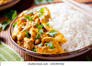 Couple of bowls of spicy homemade chicken curry