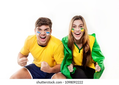 A couple of Brazilians cheering for Brazil