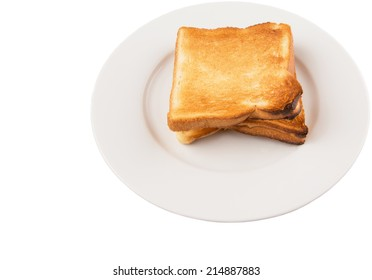 A couple of bread toast over on a plate over white background