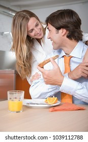 A couple at breakfast