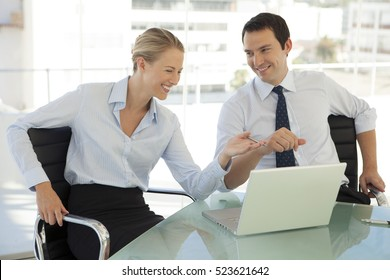 A couple of business partners working together in office