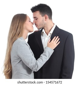 Couple of businesspeople in love ready to kiss isolated on a white background