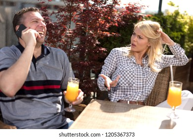 couple in cafe  are arguing