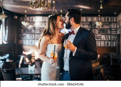 Couple in the cafe. Wedding