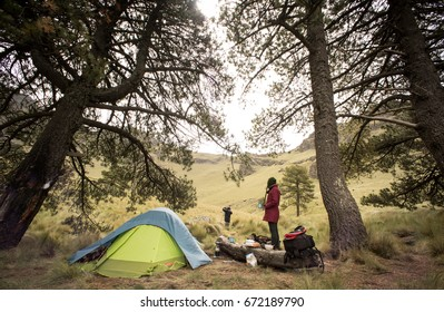 couple camping at  mountain