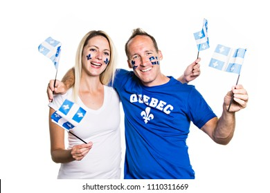 Couple celebrates the national holiday in studio white background