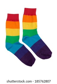 Couple of cheerful colored striped socks. Isolate on white.