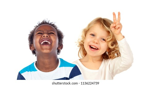 Couple of children doing jokes isolated on a white background