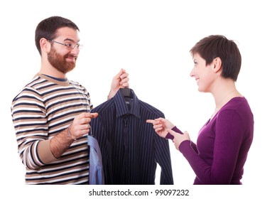 Couple Choosing the Shirt to Dress