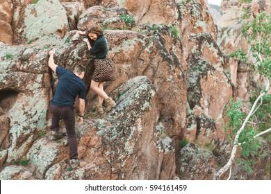 Couple climbs