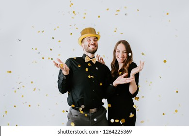 Couple with Confetti on New Years