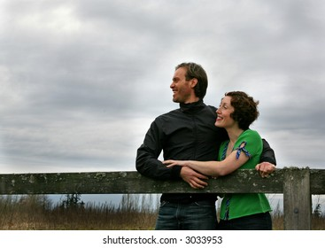 a couple in a countryside setting