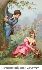 Couple Courting - A romantic flower gathering in the country - a Victorian style illustration, circa 1890