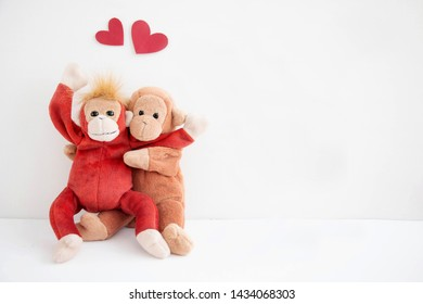 Couple cute monkey with red heart balloons, Happy Valentine's day.