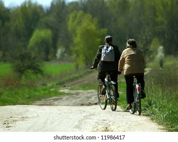 Couple cycling home