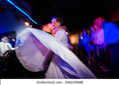 Couple dancing for the holidays. Brides dance at the wedding.