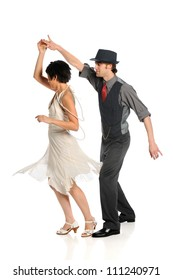 Couple dancing isolated over white background